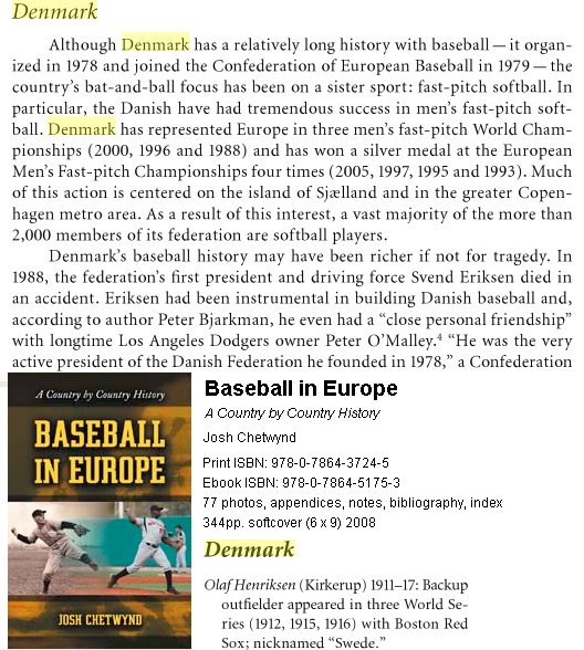 Baseball in Europe isbn 978-0-7864-3724-5